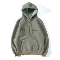 Champion pop casual minimalist embroidery logo lamb fur hooded sweater