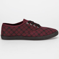 Full Tilt Womens Lace Up Shoes Burgundy Plaid  In Sizes