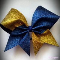 Two color glitter bow. Gold and navy glitter cheer bow.