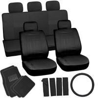 OxGord 21pc Solid Black Flat Cloth Seat Cover and Carpet Floor Mat Set for the Honda Accord Coupe, Airbag Compatible, Split Bench, Steering Wheel Cover Included