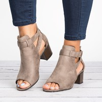 Invest Cutout Booties - Taupe