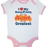 So Relative! I Love Mommy  Daddy But My Aunt Is The Greatest Pink Ringer Baby Infant Short Sleeve Bodysuit Creeper
