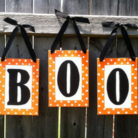 """BOO Orange,  Black, and White  5"""" x 7"""" Canvas Board Hand-painted Letters Halloween Sign Trick or Treat"""