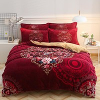2017 Flannel Luxury Bohemia style Bedding set Twin Queen size for kids Bed set Duvet cover Bedsheet Pillowcases