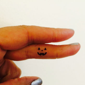 Pumpkin Face Halloween Temporary Tattoo Tiny / Fake Tattoos / Set of 5