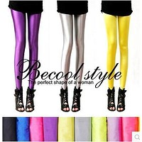 Gloss pants legging female thin spring and summer candy color neon plus size ankle length trousers high waist pencil pants
