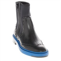 Balenciaga Staple-Trim Grained Leather Chelsea Boot