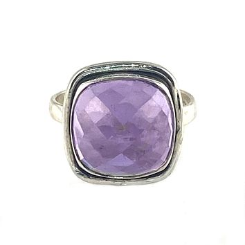 Amethyst Sterling Silver Rose Cut Solitaire Ring