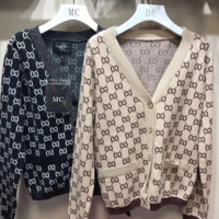 GUCCI New winter more letter loose V-neck knit sweater coat top two color