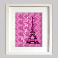 I Love Paris Digital Wall Art  8x10 Perfect French Decor for Girls Room Wall Art, Pink and White with Eiffel Tower, (Digital Download)