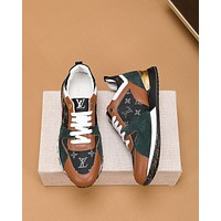 LV Louis Vuitton BEST QUALITY Men's Leather Run Away Low Top Sneakers Shoes