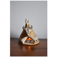 Native American Chief's candle holder