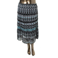 JM Collection Womens Petites Printed Pull On A-Line Skirt