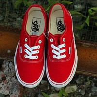 vans red classic canvas leisure shoes