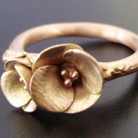 Golden Poppies, in Solid Rose Gold - Handsculpted, Cast Ring in Solid 14K Pink/Rose Gold - Custom / MADE-TO-ORDER in 4 to 5 Weeks