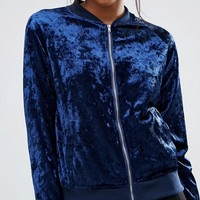 Madam Rage Velvet Bomber Jacket at asos.com