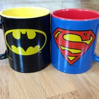 Officially Licensed Warner Brothers DC Comics Batman and Superman Coffee Mug - 12 ounces