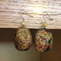 Speckled Silk Worm Cocoon Earrings - Handmade, Organic, Colorful, Yarn Lovers, Knitting Lovers, Crochet Lovers, Soft, Hollow, Dangle, Unique