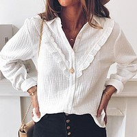 Ruffles White Women Blouse Shirt Ladies Causal Blouses Shirts Casual Plus Size Lace Blusas Mujer