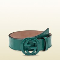 100% AUTH NEW MEN GUCCI GREEN IMPRIMEE INTERLOCKING LOGO BELT US 44/110