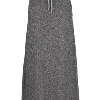 French Terry Maxi Skirt With Tie - Heather Gray