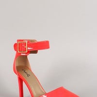 Qupid Neon Pointy Toe Ankle Strap Stiletto Pump Color: Neon Coral, Size: 7.5