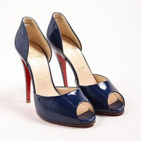 DCCK2 Christian Louboutin Navy Blue Patent Leather D  Orsay Peep Toe Pumps