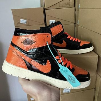 Air Jordan 1 high-top patent leather distressed basketball shoes