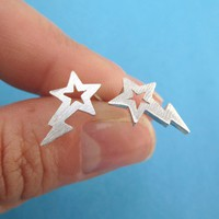 Shooting Stars Space Themed Stud Earrings in Silver
