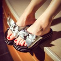 Leather Bow Flat Sandal