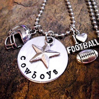 Personalized Football Charm Necklace, Football Necklace, Sports Jewelry, Football Jewelry, Dallas Cowboys Necklace