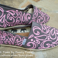 Handpainted Custom TOMS Shoes Swirls and Spots PINK by FancyToms