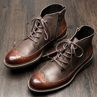 Mens Genuine Leather Lace Up Brogue Wingtip Martin Boots