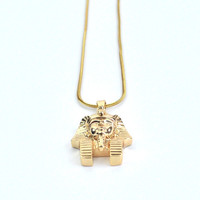 Gold Pharaoh Head Necklace