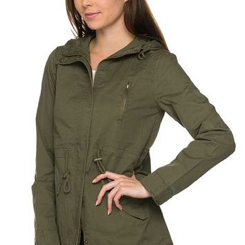 Ambiance Twill Hooded Anorak Jacket in Olive 65543