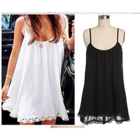 Fashionable Women Lace Floral Strap Sleeveless One Piece Dress b29