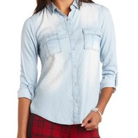 Collared Button-Up Chambray Top by Charlotte Russe - Lt Blue Combo