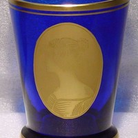 623020 Cobalt Straight Plain Sides, W/Gold Oval Of Lady Pntd, Gold