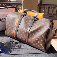 Bunchsun Louis Vuitton LV High Quality Fashion Women Men Leather Large Capacity Luggage Travel Bags Tote Handbag