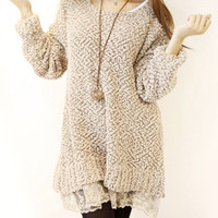 Loose Fit Sweater with Lace Layers