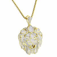 "Zar Lion Head Pendant 14k Gold Tone Simulated Diamonds Iced Out 24"" Free Chain"
