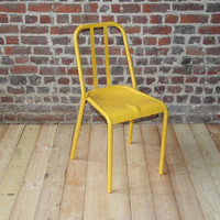 Retro metal chair - model VIEUX LILLE - Yellow ral 1003