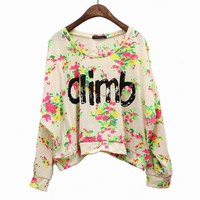 Vintage Spring Flower Climb Letter T-shirt from TheFunKiss