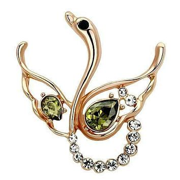Vintage Brooches LO2816 Flash Gold White Metal Brooches with Crystal
