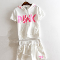 """pink"" Print Short sleeve Top Shorts Pants Sweatpants Set Two-Piece Sportswear"