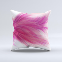 Abstract Pink Flowing Feather Ink-Fuzed Decorative Throw Pillow