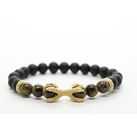 Onyx and Tigers Eye Gemstones Beaded Bracelet for Men and Women