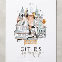 Cities By Rooftop 2015 Calendar by Anthropologie Multi One Size Office