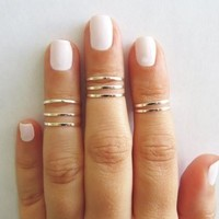 8 Above the Knuckle Rings - Silver stacking ring, Knuckle Ring, Thin silver shiny bands, Midi rings, Silver accessories, Birthday gift [7940932103]