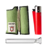 Quick Draw Smoker Tool with Glass One Hitter, Lighter, and Hemp Wick - Assorted Colors